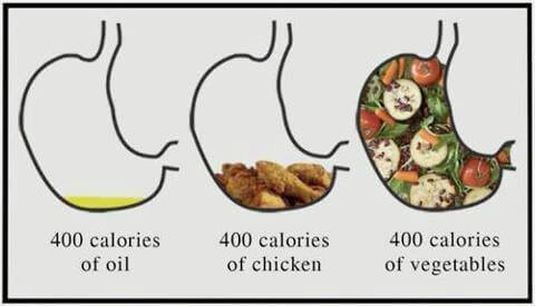 100 Calories of Oil VS Chicken VS Vegetables - Healthy Eating