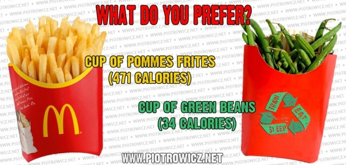 Pommes Frites VS Green Beans - Healthy Fitness Recipes Fruit Abs