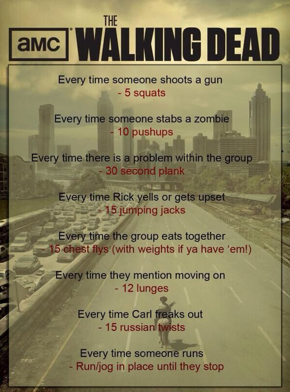 The Walking Dead Workout - Healthy Fitness Squats Push-Ups Plank