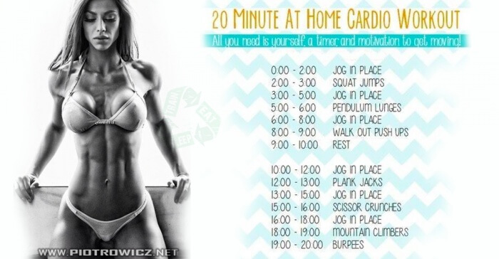 20 Minute At Home Cardio Workout - Healthy Fitness Sixpack Butt