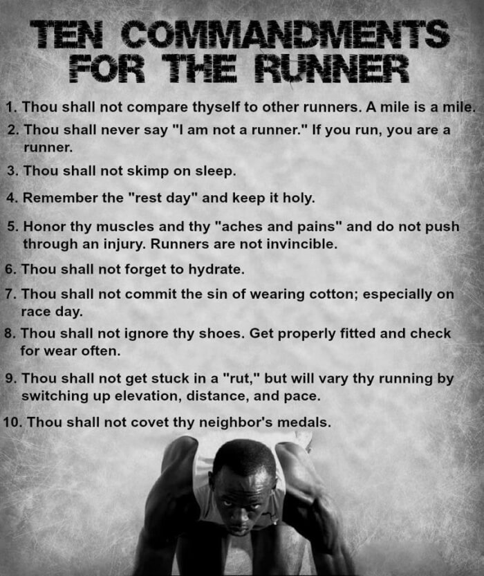 Ten Commandments For The Runner - Healthy Fitness Sport Sixpack