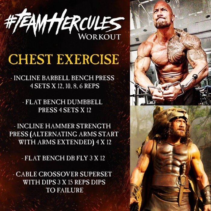 Team Hercules Workout: Chest Exercise - Dwayne The Rock Johnson