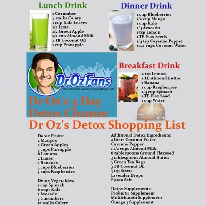 Dr oz s 3 day detox cleanse drinks luch dinner breakfast tips