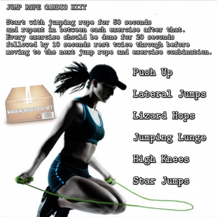 Jump Rope Cardio HIIT - Start With Jumping Rope For 50 Seconds..