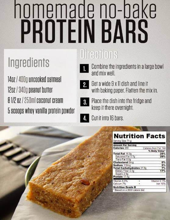 Homemade No-Bake Protein Bars - Recipes Ingredients Directions