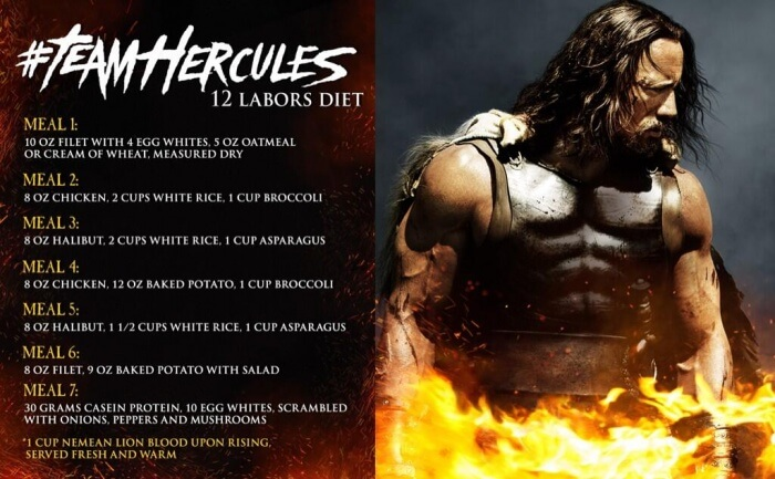Team Hercules 12 Labors Diet - 7 Meals Dwayne The Rock Johnson