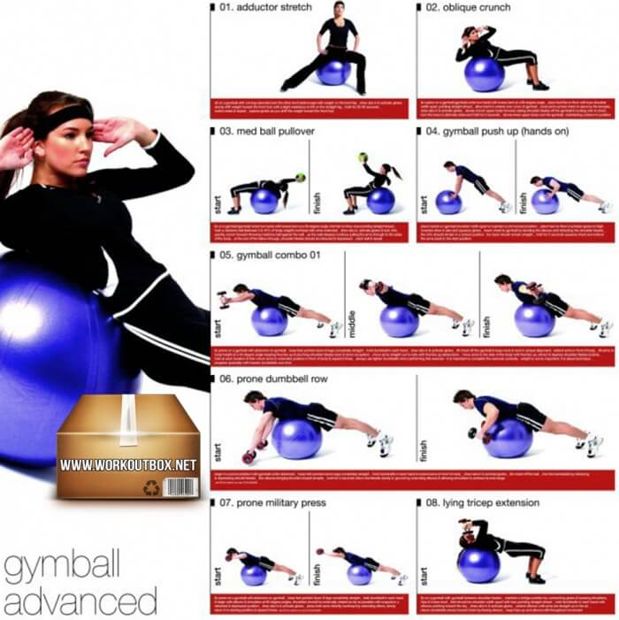 Gymball Advanced Workout For Women And Men - Healthy Fitness Abs