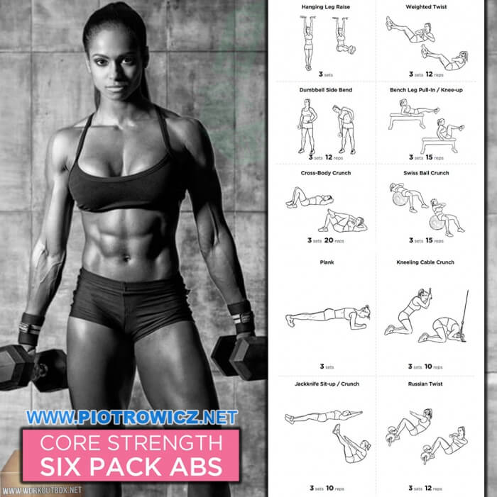 Core Strength Six Pack Abs Workout - Healthy Fitness Female Body