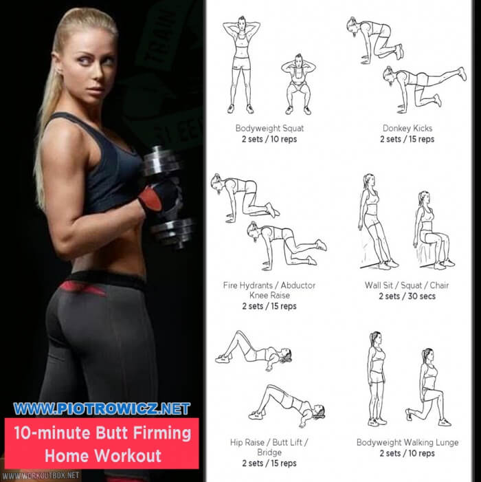 10-Minute Butt Firming Home Workout - Fitness Women Sexy Body Ab
