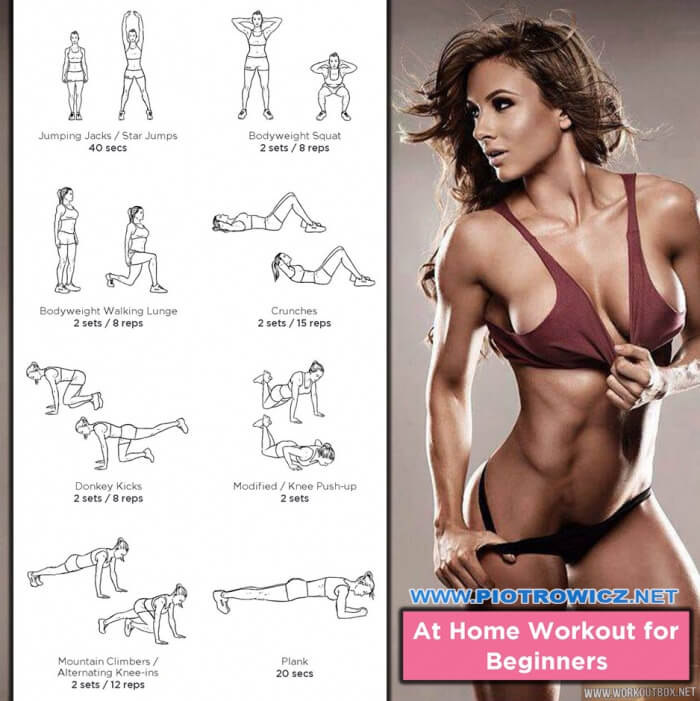 At Home Workout For Beginners - Healthy Fitness Female Training