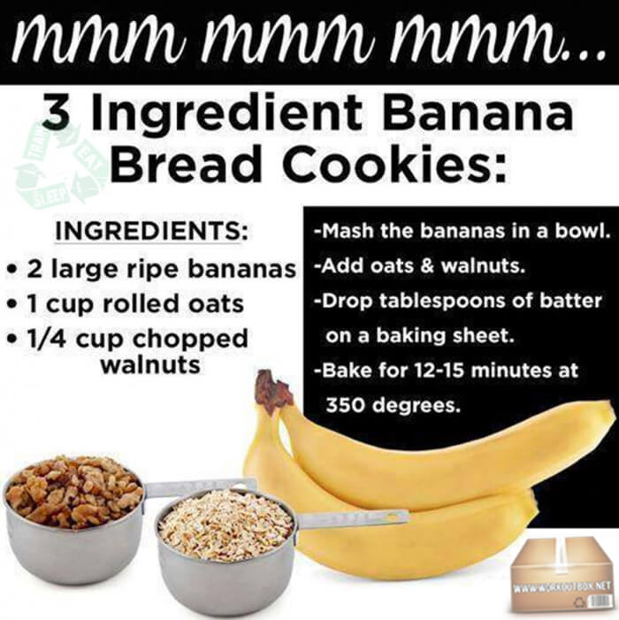 3 Ingredient Banana Bread Cookies - Healthy Fitness Recipes Abs