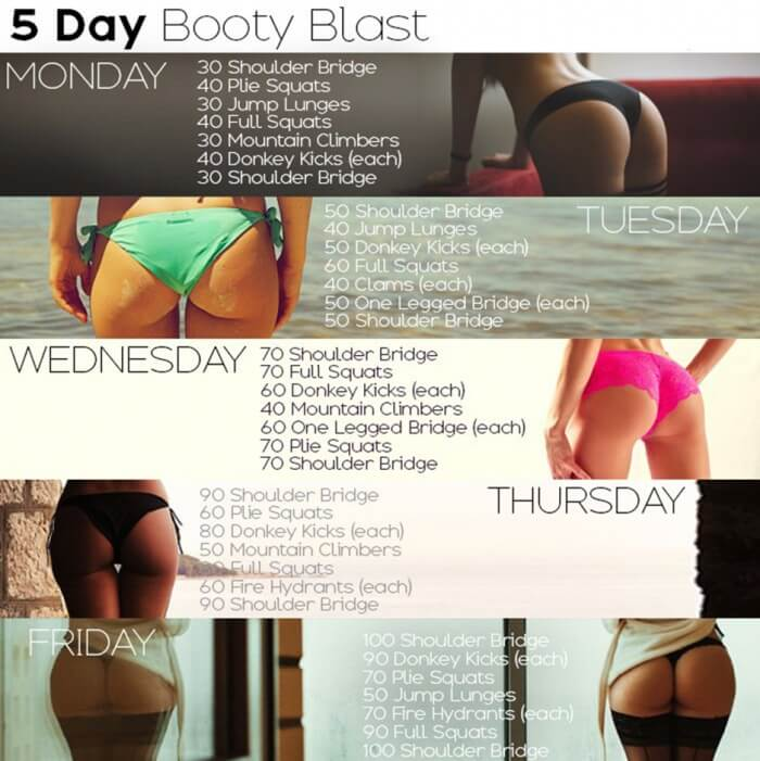 5 Days Booty Blast Workout - Healthy Fitness Butt Training Legs