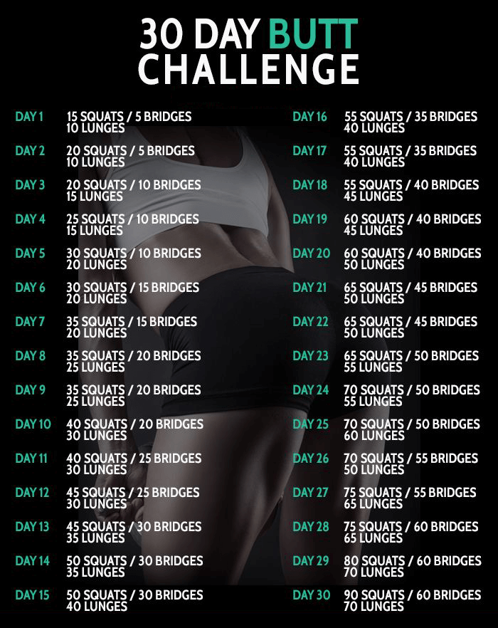 30 Day Butt Challenge - Healthy Fitness Workout Squat Lunges Abs