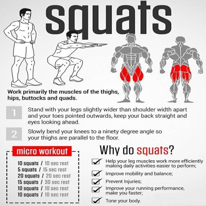 Squat - Why Do Squats ! Health Fitness Routine Legs Butt Sixpack